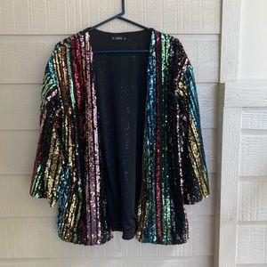 SHEIN sequin kimono